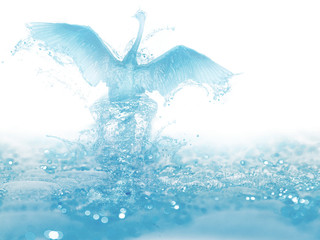 artwork of liquid bird born and fly from water