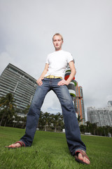 Ground angle image of a man in Miami