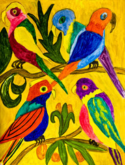 Hand painted picture, parrots