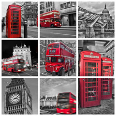 Spoed Fotobehang Rood, zwart, wit Collage carré bus, téléphone, big ben, couleur rouge et noir et blanc à Londres (UK)