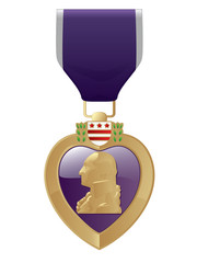 Detailed close up of a Purple heart Medal