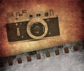 Vintage texture, old film camera