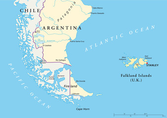 Falkland Islands and part of South America political map with national borders, most important cities, rivers and lakes. Illustration with English labeling and scaling. Vector.
