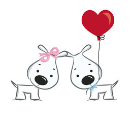 Funny dogs' couple -vector illustration