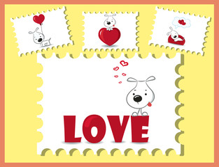 The card for Valentine's Day, the background