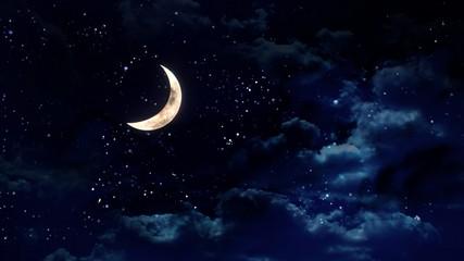 half moon in the night sky