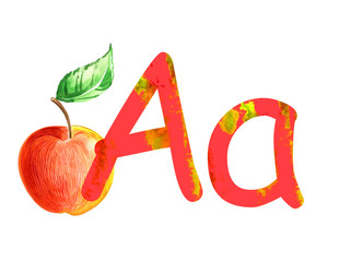 hand painted alphabet, letter A