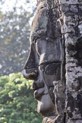 Angkor Bayon stone face profile