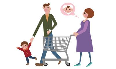 ショッピングをする家族