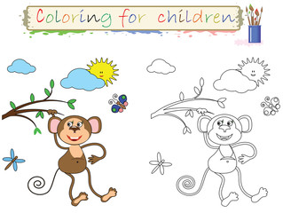 Coloring for children , funny  cute monkey