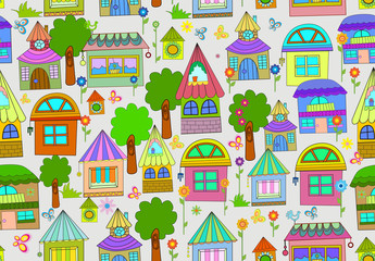 Seamless color background with cute houses