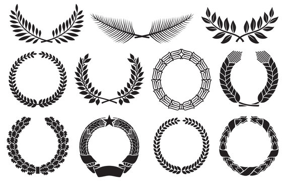 Wreath set (laurel, oak, wheat, palm and olive wreath)