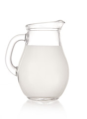 Jug with milk over white