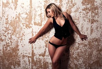 fashion style photo of sensual blonde woman