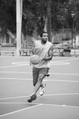Basketball player running on the court