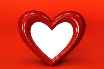 heart shape over red background