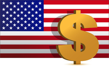 Dollar sign on us flag background - illustration design