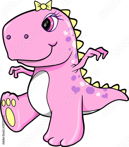 Cute Pink Girl Dinosaur T Rex Vector Illustration Art Stock Image
