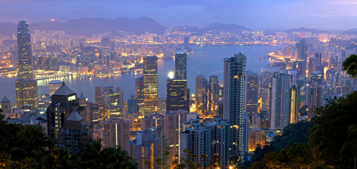 Hong Kong panorama  from Victoria Peak at sunrise