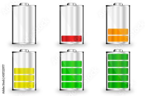 Batterie Symbole 0 bis 100 Prozent farbig\