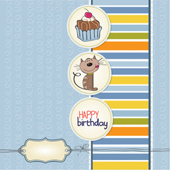 birthday greeting card with a cat waiting to eat a cake