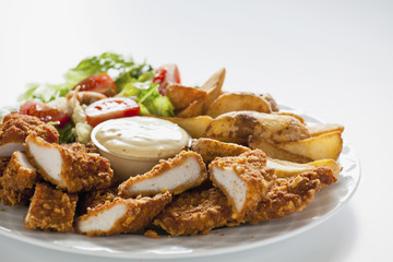 Tasty Chicken Strips With Salad