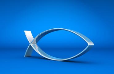 3D ICHTHYS Silber auf Blau 01