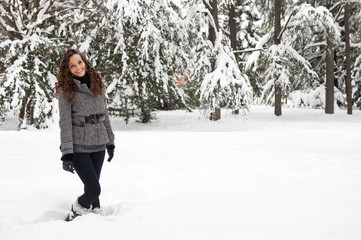 Portrait of beautiful girl in winter time.
