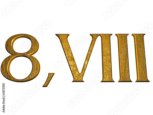 3d Golden Normal Numbers And With Roman Numeral Stock Photo And