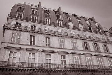 Building Facade on Rue de Rivoli, Paris, France