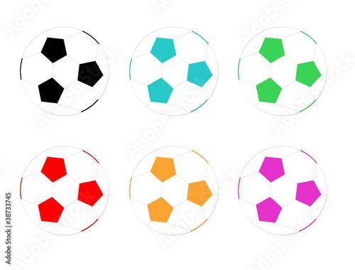 Balones de fútbol de colores\
