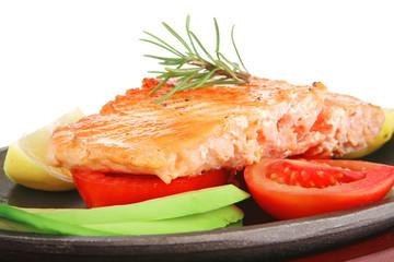 grilled salmon on pan