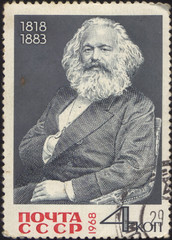 stamp printed in USSR, shows the portrait of a Karl Marks