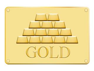 Plaque en avec lingots d'or