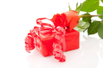 red present and rose