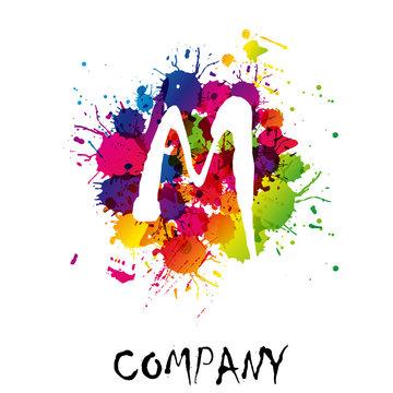 Splash Logo letter M # Vector