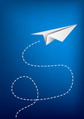 Paper plane flying.