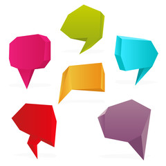 Set of polygon speech bubbles. Vector illustration.