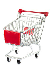 Single empty shopping cart