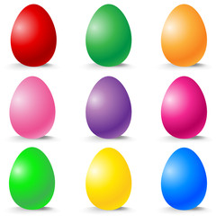 Colorful Easter Eggs vector set on white.