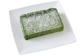 frozen spinach on the plate