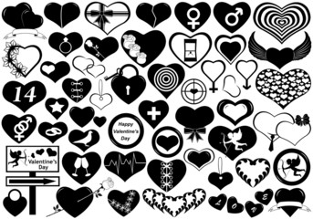 Different hearts isolated on white