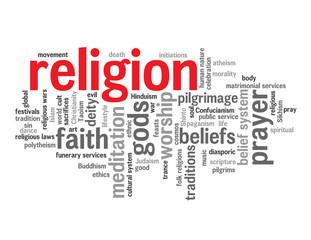 """RELIGION"" Tag Cloud (faith religious church god beliefs prayer)"