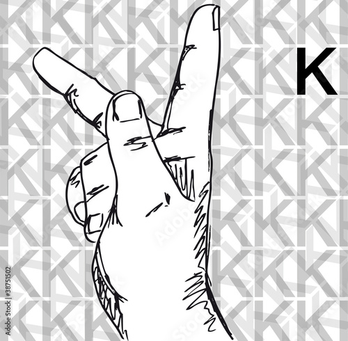 Sketch Of Sign Language Hand Gestures Letter K Stock Image And