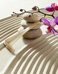Acrylic Prints Stones in Sand zen stone garden with flower