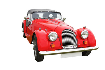Red classic vintage car isolated on white background