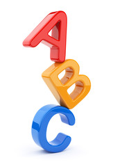 Colorful toy symbols heap  of alphabet. Icon  3D.  Education con