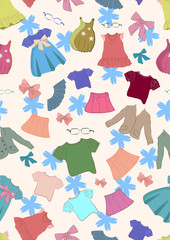 Seamless color background with cute children clothes