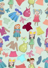 Seamless color background with cute children and clothes