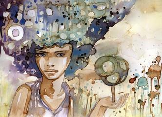 Printed kitchen splashbacks Painterly Inspiration Kobieta z miniaturowym drzewem na ręku
